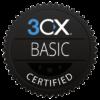 Schwarze Plakette mit der weißen Aufschrift 3CX Basic Certified