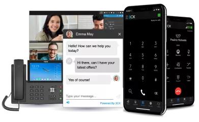 Video, Chat, Telefon und Smartphone vor weißem Hintergrund