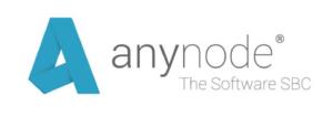 Blaues anynode-Logo mit Markenschriftzug